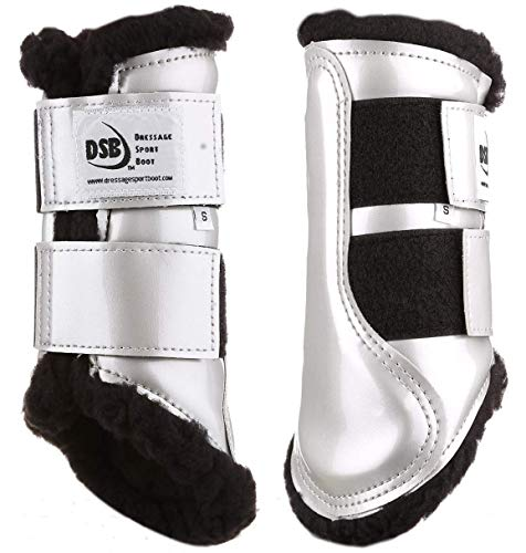 Dressage Sport Boot (DSB, for Horses, Large, Patent Silver/Black Fleece, - Horse Dressage Boots