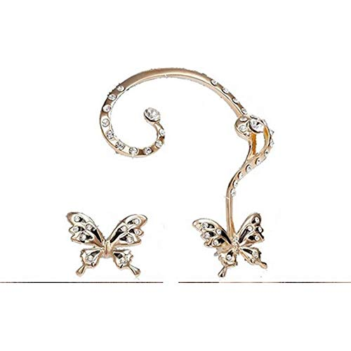 Ear Cuff Clip, Muranba 2PCS Women Butterfly Ear Cuff Clip Stud Crystal Rhinestone Earrings (Gold)