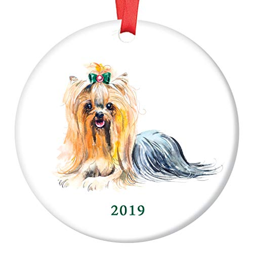 Yorkie Christmas Ornament 2019 Pretty Watercolor Image Yorkshire Terrier Family Pet Lapdog Shelter Rescue Dog Lover Puppy Adoption 3