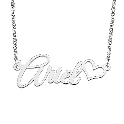 (Sug Jasmin Classic 925 Sterling Silver Customized Name Necklace Semi-Custom Made Name Necklace Heart Love Personalized Pendant Jewelry Gift for Women Girls)