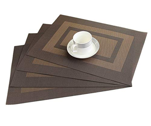 WANGCHAO Placemats Set of 6, 12'x18 Cross Weave Durable Woven Vinyl NOL-Slip Insulation Placemat Washable Table Mats (Brown) (Furniture Perth Patio)