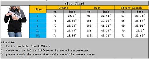 Donne Multifunzionale Shirt per Lunghe T a L'Allattamento Maniche con Cappuccio delle incint 4 vnwZw8q