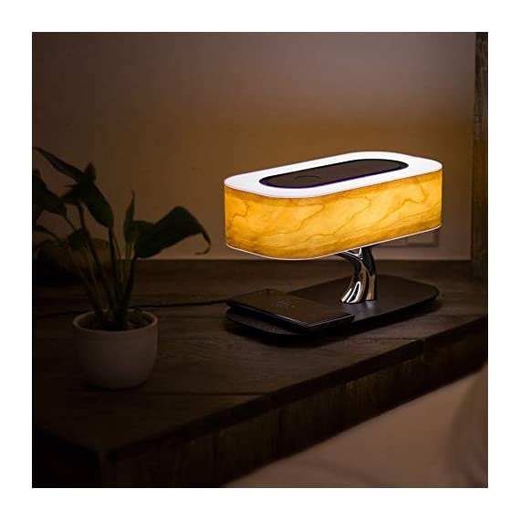Tree of Light - Bedside Table Lamp with Built-in Bluetooth Speaker and Wireless Charger for Bedroom, Office, Living Room, Stepless Dimming Desk Lamp with Sleep Mode - Elegant Bedside Lamp with Modern Technology - 3 in 1 Stunning Lamp with Built-in Bluetooth Speaker and Wireless Charger for Bedroom, Office, Living Room. Unique and Stunning Design - Built-In powerful Bluetooth speaker delivering Omni-Directional sound featuring preeminent performance from our dual wave-guide technology. LED Dimming Light with Touch Control - Switch the Light ON /OFF with a light touch. Press and hold the touch area for 3 seconds for Sleep Mode and light will turn off within 30 mins. - lamps, bedroom-decor, bedroom - 411Ww4BD 0L. SS570  -