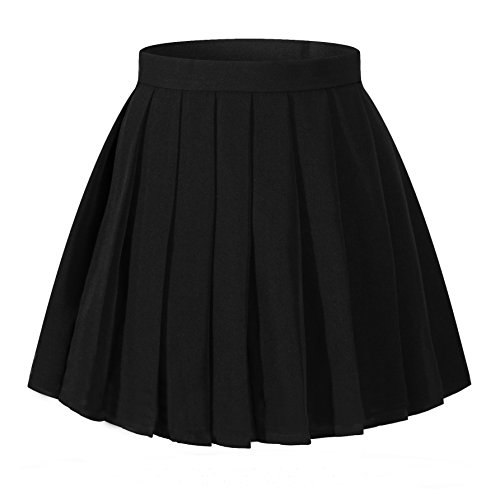 Women`s School Uniform High Waist band Short Pleated Skirts(L ,Black)