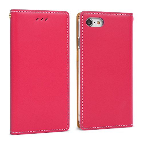 DesignSkin iPhone 8 Flip Folio Wallet Case: 100% Leather That is Genuine Cowhide w/Card Slot & Cash Pocket for Apple iPhone 8/7 - Hot Pink