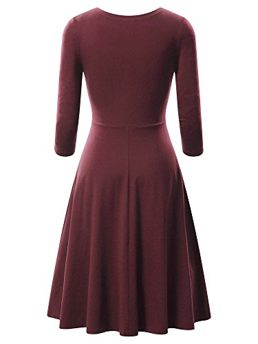 A 4 Sleeves line FENSACE Womens Pockets Cotton Bordeaux Dress Midi Casual with 3 0wFqB