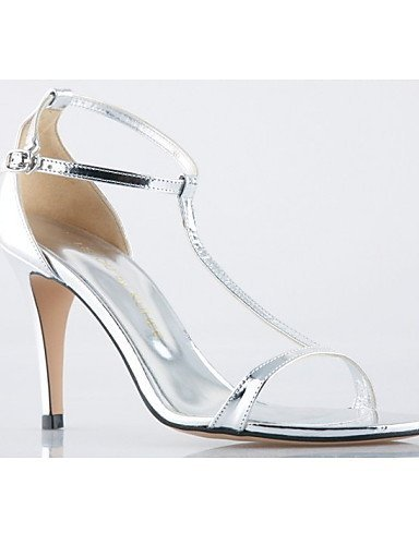 Shoes Heels Wedding Leather Evening ShangYi Stiletto Silver Sandals Silver Heel amp; Women's Dress Party 0U5wqX