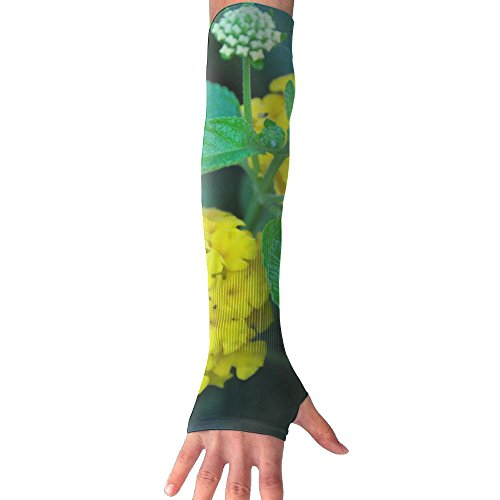 Yellow Flower Greenery Ultra Long Non Finger UV Resistant Gloves Gloves Sleeve, For Women And Men To Provide Sunscreen Protection 1 Pairs, For Outdoor Sports, Driving, Bicycles by WEIFG