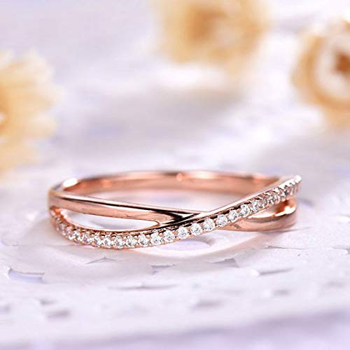 14k Rose Gold CZ Diamond Cubic Zirconia Wedding Band Engagement Ring Cross Art Deco Half Eternity Stacking Matching Jewelry Set Women Men Promise Anniversary Ring Dainty Delicate