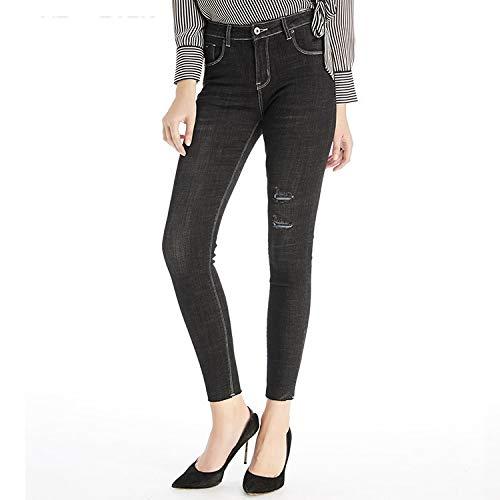 MVGUIHZPO Jeans Femme Hohe Jeans, Winterjeans, Warme Passform, elastische Taille, L?cher. M