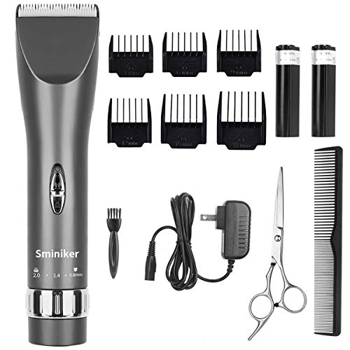 Sminiker Professional Cordless Haircut Kit Rechargeable Hair Clippers Set with 2 Batteries, 6 Comb, Guides and Scissors - Grey ()
