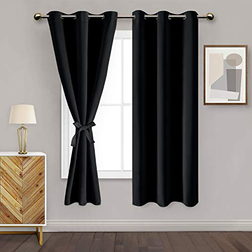 DWCN Grommet Blackout Curtains for Bedroom with Tiebacks