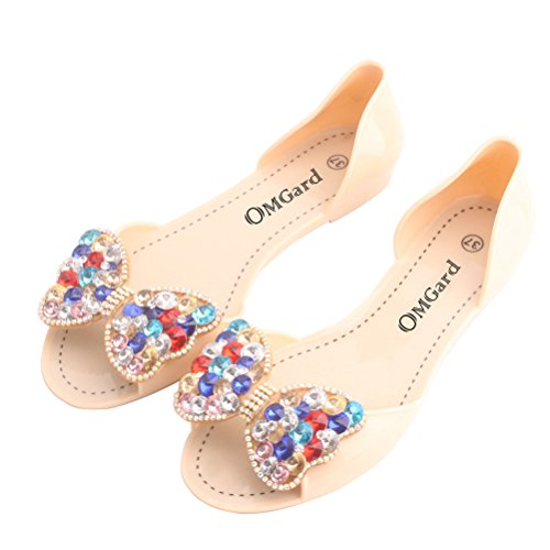13809cd59895bb best OMGard Women Jelly Sandals Beach Jelly Shoes Summer Bow Slippers Slip  On Flats Shoes