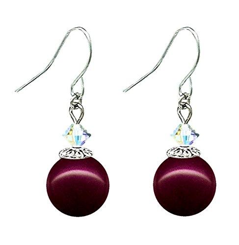 - Drop Earrings with Swarovski (tm) Crystal Pearls - Blackberry (E600)
