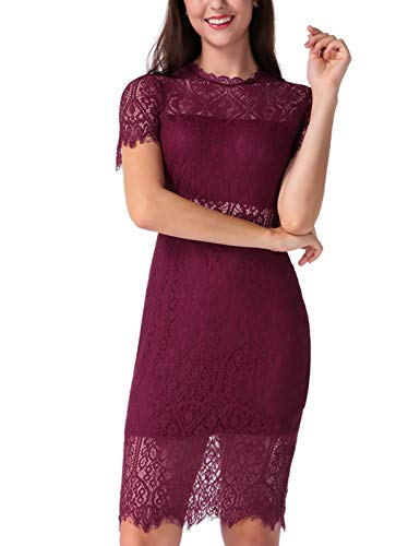 Length Neck High - Short Sleeve Lace Bodycon Stretchy Knee Length Cocktail Party Dress for Womens Wine Red XL