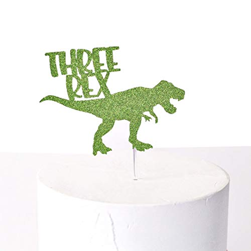 (Three Rex Cake Topper Dinosaur Birthday Cake Topper Jurassic Park T-Rex 3 Birthday Boy Party Supplies Decorations)