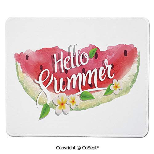 Ergonomic Mouse pad,Hello Summer Motivational Quote with Fresh Watermelon and Poppies Picture,Dual Use Mouse pad for Office/Home (7.87