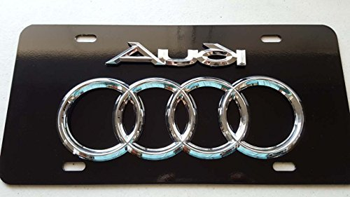 Audi Chrome 3D on Black Steel Plate style 1 with screw caps included