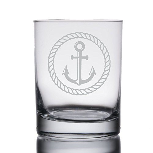 (Nautical Themed Engraved Heavy Base 13.5 oz Double Rocks, Old-Fashioned Whiskey Glass (Anchor))