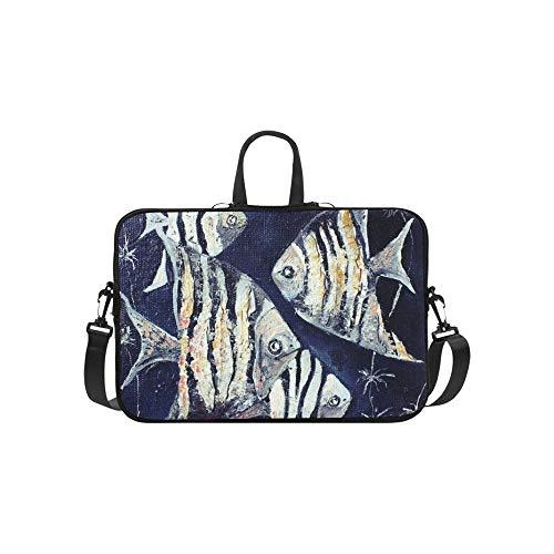 Oil Painting Tropical Fish and Sea Pattern Briefcase Laptop Bag Messenger Shoulder Work Bag Crossbody Handbag for Business Travelling