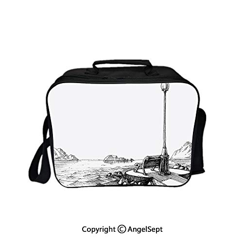 Fashion Custom Lunch Bag Tote Bag,Bench and Lantern in the Middle of Ocean Waves Mountains Rocks Artistic Monochrome Decorative Black White 8.3inch,Lunch Organizer Lunch Holder For Unisex Adults