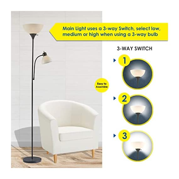 """Adjustable Floor Lamp with Reading Light by Light Accents - Susan Modern Standing Lamp for Living Room/Office Lamp 72"""" Tall - 150-watt with Side Reading Light Corner Lamp (Black) - Incandescent torchiere floor lamp for small- to medium-size rooms. Great as a dorm room floor lamp, floor lamps for bedrooms, floor lamp for living rooms. Sleek Black-painted finish with a gently curved white-frosted plastic shade Fully Adjustable Side Reading light, Use as a kids floor lamp floor lamps for bedrooms - living-room-decor, living-room, floor-lamps - 411WyDpxHcL. SS570  -"""