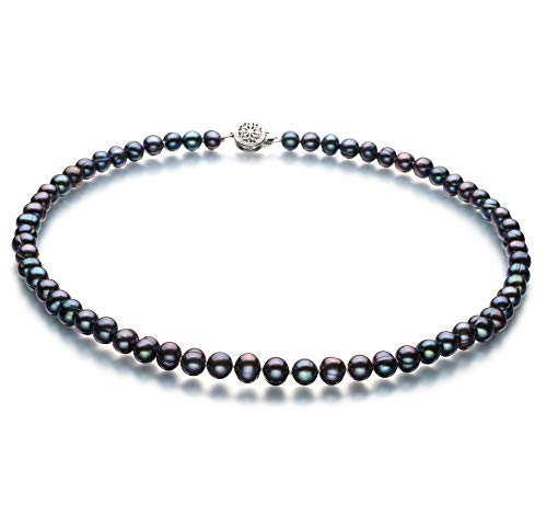 Bliss Black 6-7mm A Quality Freshwater Cultured Pearl Necklace for Women-16 in Chocker Length