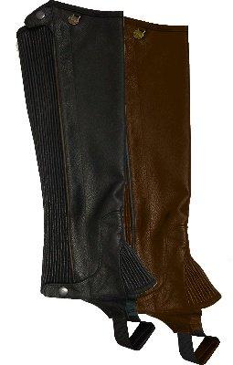 Ovation - Ladies Pro Top Grain Leather Half Chaps , Black , (Ladies Black Chaps)