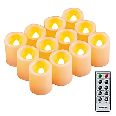 Kohree Flameless Candles LED Battery Candle Votive Unscented Flameless Pillar with Remote Control Timer Christmas Candles, Dim 1.5 inchesx1.9 inches, Set of 24