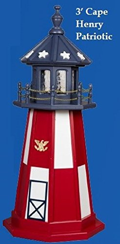 Amish-Made Red, White and Blue Wooden Outdoor Cape Henry Replica Lighthouse with 25 Watt Light, 21'' Tall