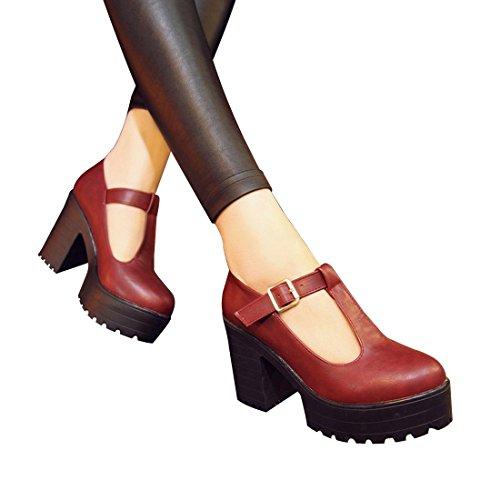 Milesline Fashion Women's Round Toe Platform Shoes T-strap Chunky Heel Mary Jane Pumps