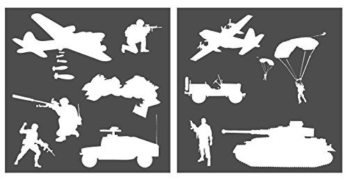 Auto Vynamics - STENCIL-WARSET01-20 - Detailed Soldiers / Vehicles At War Stencil Set - Featuring Tanks, Bombers, Military Troops, & More! - 20-by-20-inch Sheet - (2) Piece Kit - Pair - Stencils Paint Auto