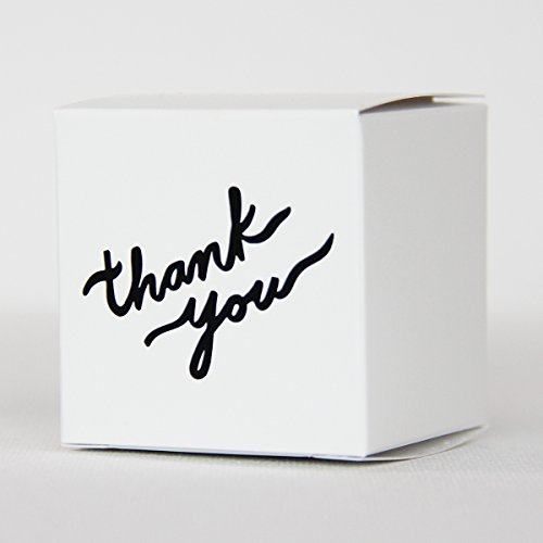 """Made in USA - 2 Inch Cube White Thank You Favor Box (2""""x2""""x2"""" Printed Boxes) Wedding Favor, Birthday Favor, Baby Shower Favor, Bridal Shower Favor, Small Gift Box (50, White Thank You)"""
