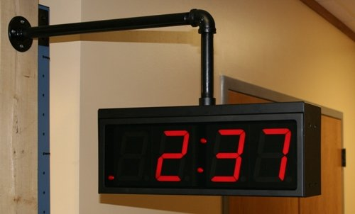 TimeMachines, Dual Clock Mount Bracket for 4'' Clocks, Black Metal