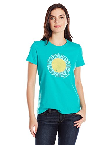 (Life is Good Women's Crusher Sun Painted Tee, Bright Teal, Large)
