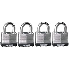 The Master Lock Fortress Laminated Steel Pin Tumbler Padlock is 1-1/2-inch wide with a laminated steel body and four-pin tumbler security. This four-pack consists of Number 1803 keyed alike. Other features include case hardened steel shackles...