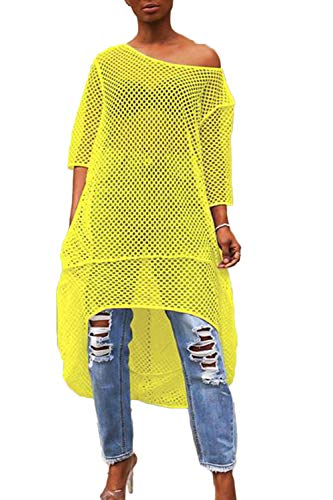 wsevypo Women See Through Fishnet Off Shoulder Long Sleeve Beach Bikini Cover Up Bodycon Mini Dress Mesh Party Clubwear - Off Shoulder Fishnet
