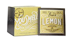 You Smell Box of 12 Luxury Wet Wipes for Purse, Car, or Kitchen in Lemon