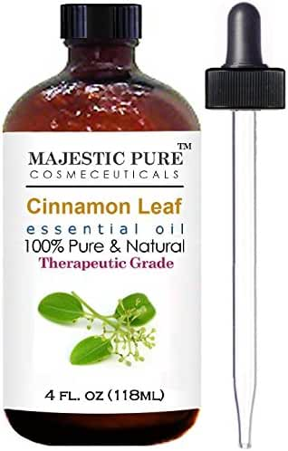 Cinnamon Essential Oil From Majestic Pure Extracted From Leaves, Pure and Natural Therapeutic Grade, 4 fl. oz.