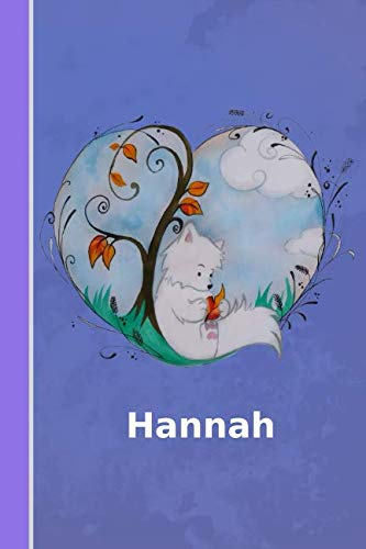 Hannah: personalized notebook | illustration fox with heart | softcover | 120 pages | blank | notebook | diary | scrapbook | journal | gift idea ()