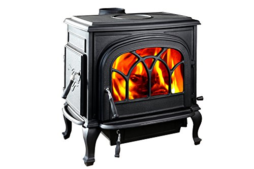HorseFlame Extra Large Cast Iron Freestanding Wood Burning Stove HF737U Paint Black