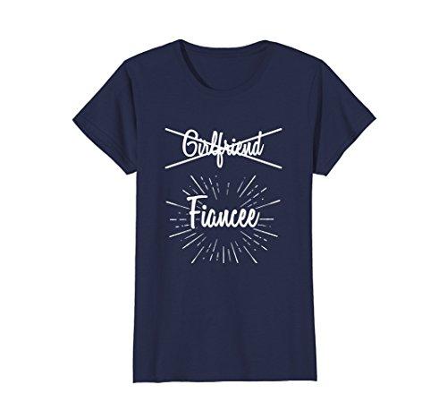 Womens Womens Girlfriend Fiancee T Shirt, Fiance Engagement Party Large Navy