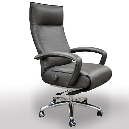 Gaga Executive Recliner Office Chair Grey Leather by Lafer Recliner Chairs