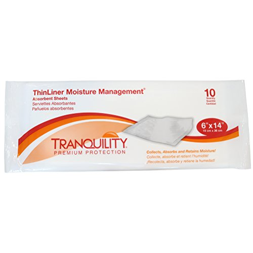 Tranquility ThinLiner Moisture Management® Absorbent Sheets for Skin Folds and Wounds - 6'' x 14'' - 100 ct by Principle Business Enterprises