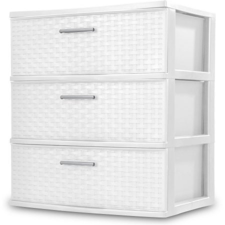 Sterilite 3-Drawer Wide Weave Tower, White 2-Pack - with BONUS Clorox Disinfecting Wipes 35 Count
