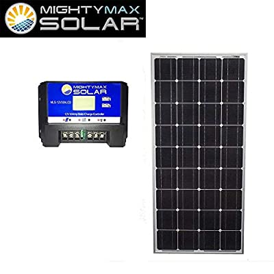 Mighty Max Battery 100 Watts 12 Volts Monocrystalline Solar Panel with Charge Controller Brand Product