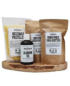 Shea Butter, Cocoa Butter, Beeswax, Almond Oil DIY Kit by Better Shea Butter