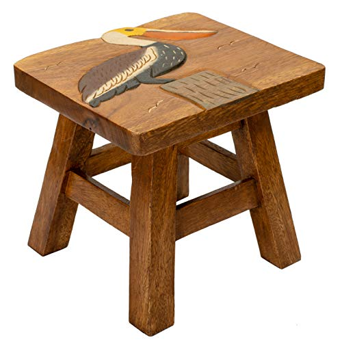 Sea Island Imports Pelican Design Hand Carved Acacia Hardwood Decorative Short Stool