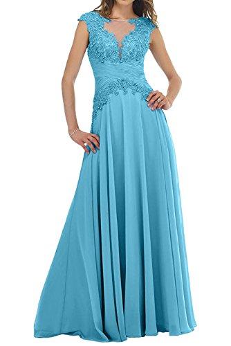 Ballkleider Spitze Charmant Blau Kurzarm mit Brautmutterkleider Partykleider Abendkleider Langes Lawender Damen xUwqaIp