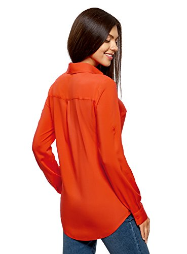 Viscosa Camicetta 5900n Oodji Donna Arancione Con In Tasche Ultra Basic qXwaX